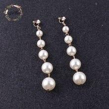 JIOFREE nowy projekt modny długi Big symulowane Pearl klip na kolczyki perły String oświadczenie kolczyki na ślub Party prezent