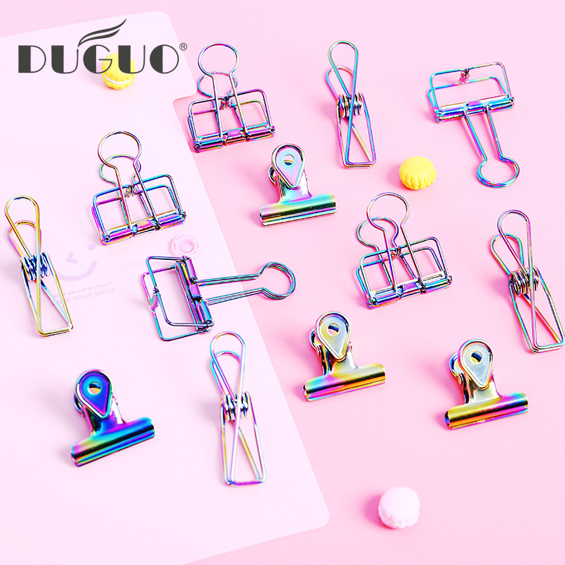 DUGUO Cute Stationery Colorful Long Tail Clip Folder Office Accessories Paper Clip Color Fishtail Clip Kawaii Office Supplies