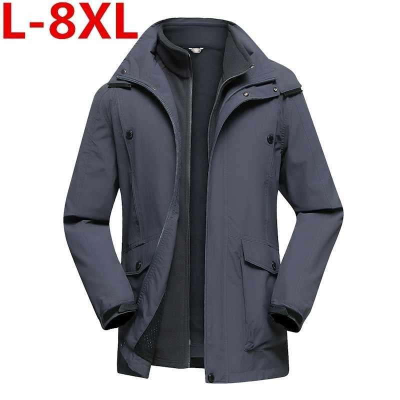 85c3166dc4d7 Подробнее Обратная связь Вопросы о Новый 2 в 1 куртка Для мужчин зимняя  куртка толстые теплые двух частей человек куртка плюс Размеры 8XL 7XL ...
