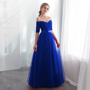 Image 4 - Royal blue Evening Dresses 2019  Long boat neck prom gown Cheap  Half Sleeve Vestido da festa fashionable formal party dress