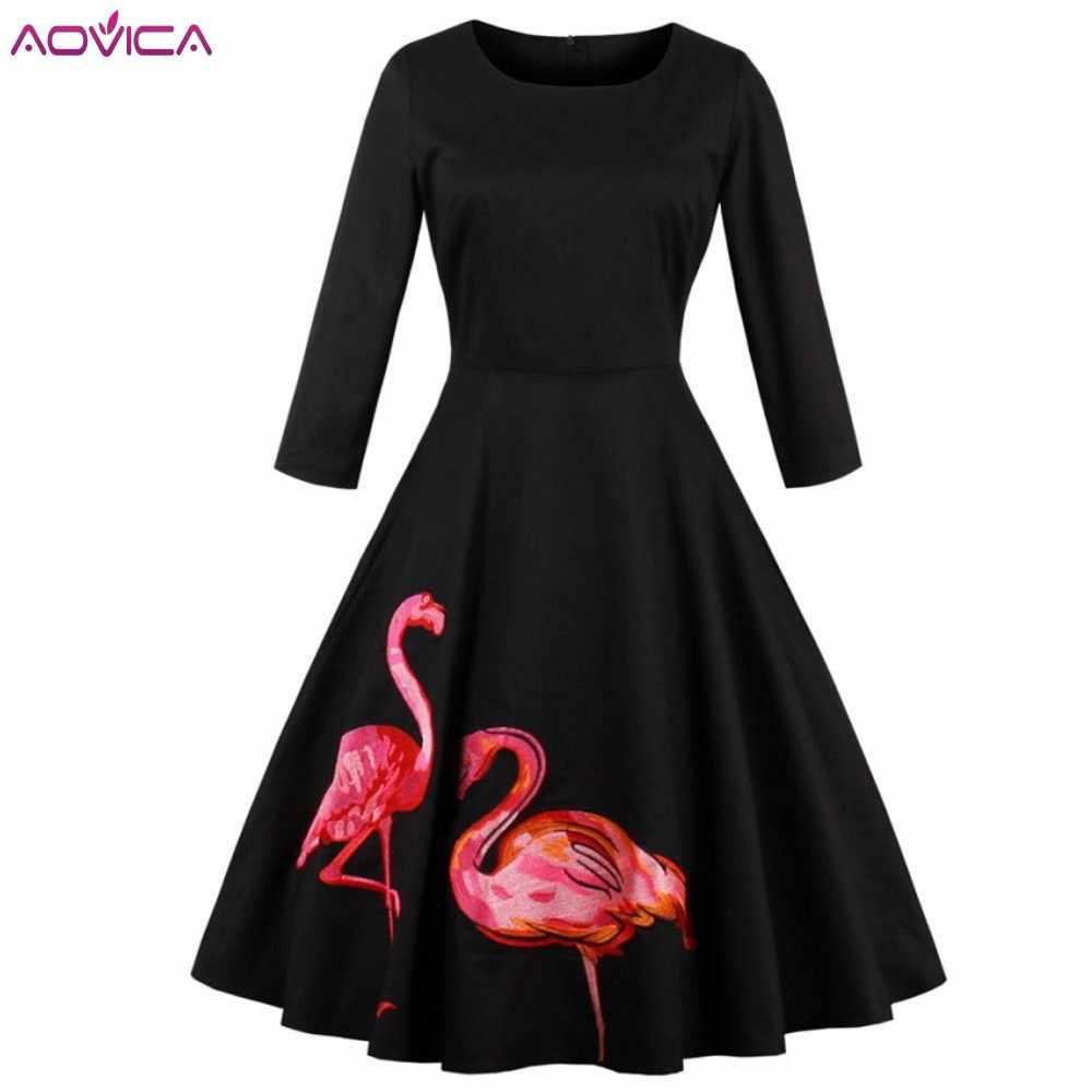 Mùa thu Flamingo Thêu Cổ Điển Ăn Mặc Mùa Xuân Phụ Nữ Dài Tay Áo Rockabilly Áo Retro A-Line Đảng Dresses Vestidos De Fiesta