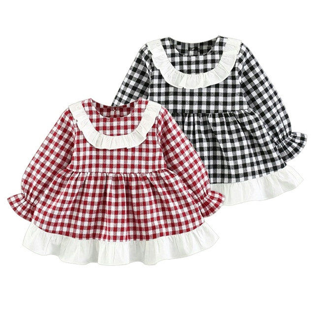 fe3e017bf132 WEIXINBUY Baby Girls Dress Summer Cute Girl Long Sleeve Plaid Princess  Dress Ruched Tutu Casual Dresses Toddler Outfits hot