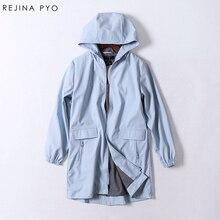 Rejina Pyo windproof rain proof female PU Solid Pockets Hooded Trench classic slim long fashion font
