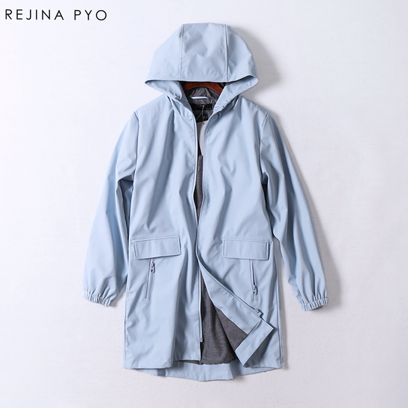 RejinaPyo windproof rain-proof female PU Solid Pockets Hooded Trench classic slim long fashion women coat trench autumn