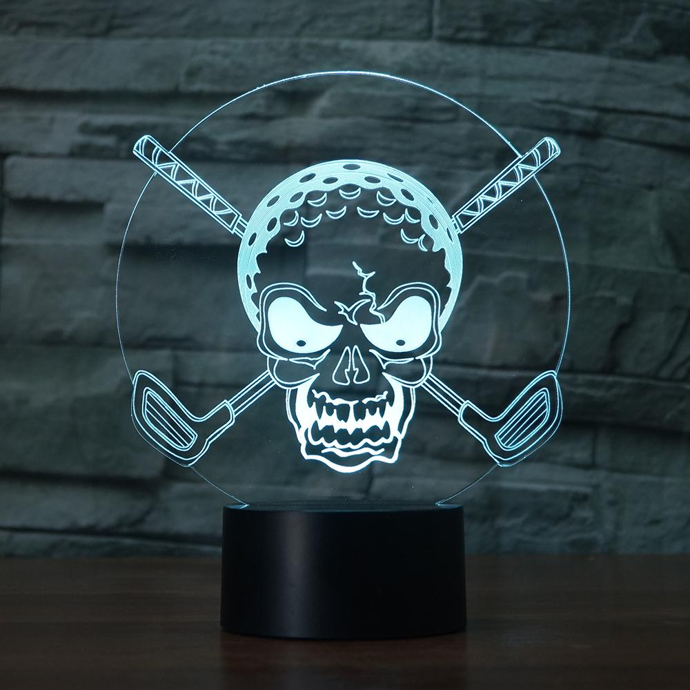 7 Colors Changing Gradient Golf Ball Skull Night Light 3D Led Desk Table Lamp Creative Home Decor Gifts Bedroom Bedside Lighting