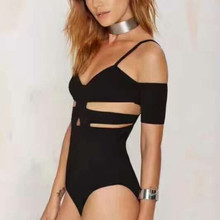 RUVOE Bandage V-neck Straps Knitted Bodysuit Sexy Hollow Out Women Summer Jumpsuit