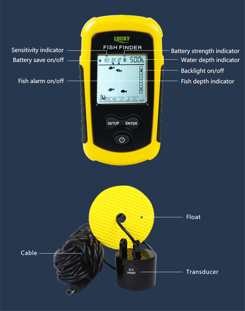 Lucky Sonar Fish Finder Alarm FF1108-1 100M Portable Sonar Sensor LCD Fishfinder Deeper Echo Sounder Transducer for Fishing Lure (8)