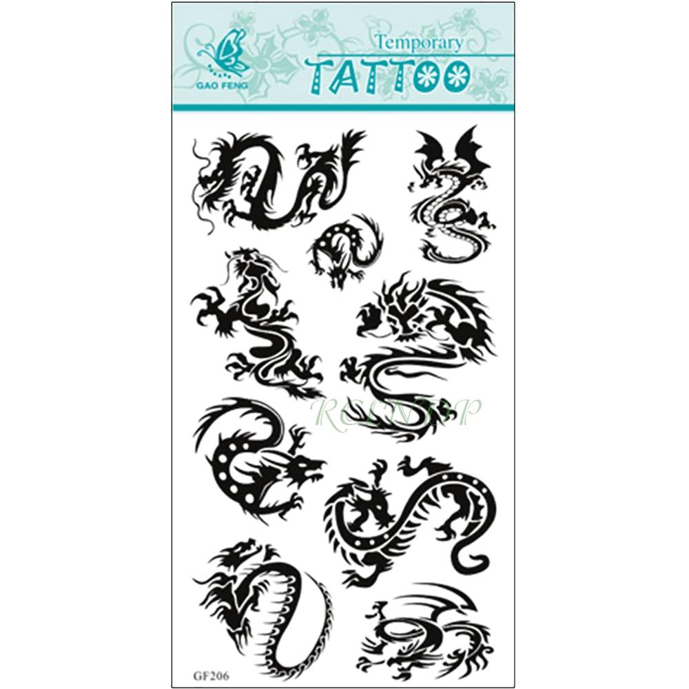 Waterproof Temporary Tattoo Sticker  Dragons China Totem Tatto Stickers Flash Tatoo Fake Tattoos For Men Women