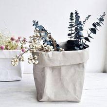 Washable Kraft Paper Storage Bag Nordic Unbreakable Plants Grow Sundries Food Waterproof Bags Organizer for Home