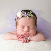 KLV Newborn Headwear Hair Accessories Photo Props Bracelet Headband Set Baby Glass Pearl Shower Gift