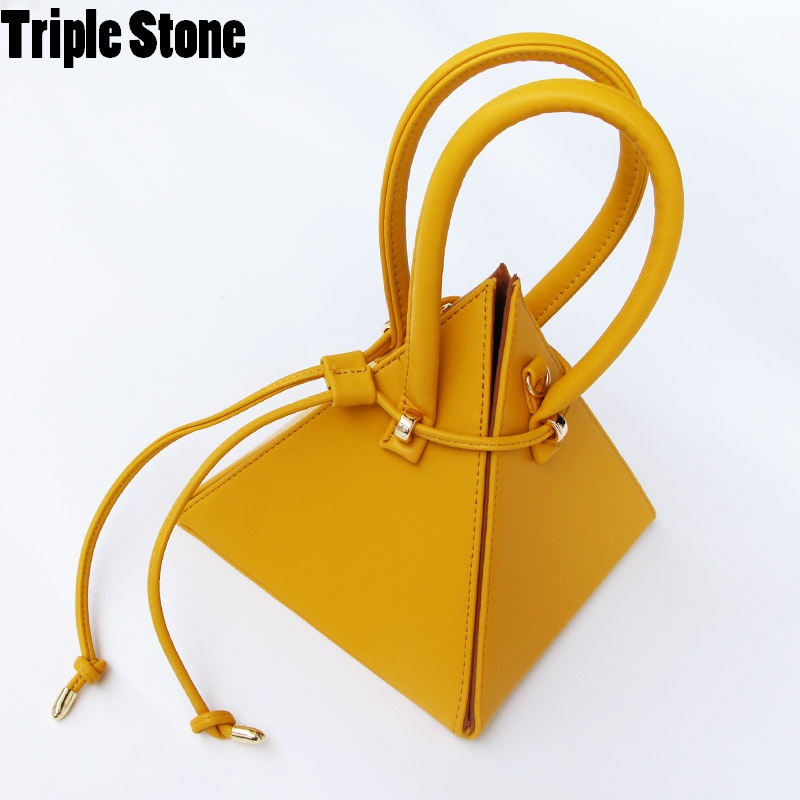4a81bd62a7e6 Pyramid Cone Novelty Day Clutches Women Leather handle Small Tote  Triangular Handbag Girls Kawaii Drawsting Bucket Bag Purses-in Top-Handle  Bags from ...