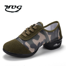 2017 Dance Shoes Women Jazz Hip Hop Shoes Salsa Sneakers for Woman Feature Soft Outsole Breath ArmyGreen Camouflage Dance Shoes