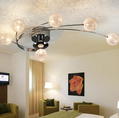 Free shipping most popular style ball design contemporary iron chandelier for living room L75 W45cm LED