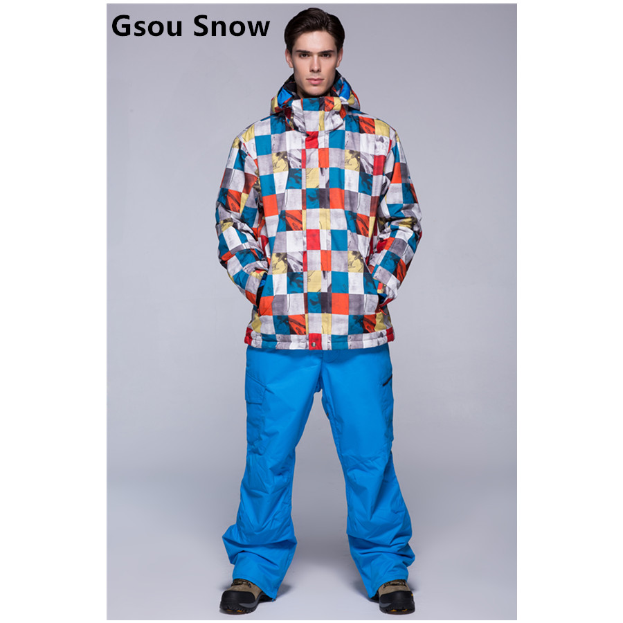 2015 gsou snow mens ski suit snowboarding suit male skiing suit colorful boxes skiwear ski jacket and blue pants waterproof 10K 2016 womens color matching ski jacket blue pink gray snowboarding jackets skiing jacket for women anorak skiwear 10k xs l