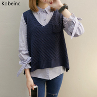 Kobeinc Women Waistcoat Jacket Loose Vest Sweater Pocket Decoration V Neck Pullover Big Yards Wool Vest