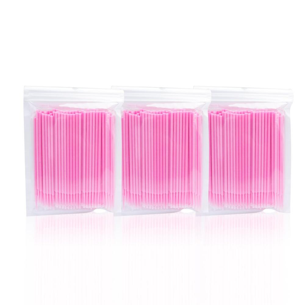 Image 2 - 100pcs Pink Durable Micro Disposable Eyelash Extension Makeup Brushes Individual Applicators Mascara Removing Tools Swabs-in Eye Shadow Applicator from Beauty & Health