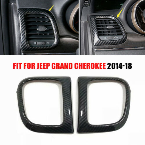 pcmos ABS Carbon Fiber Side Air Vent Outlet Frame Trim For Jeep Grand Cherokee 2014 2015