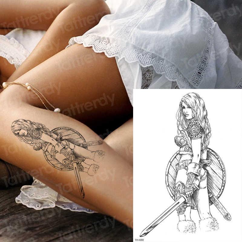 一時的なタトゥーステッカーサムライ入れ墨男性アームスリーブタトゥーデザインギリシャ神々神話タトゥーブラックボーイズ新