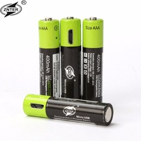 ZNTER 1.5V AAA Rechargeable Battery 400mAh USB Rechargeable Lithium Polymer Battery Quick Charging by Micro USB Cable