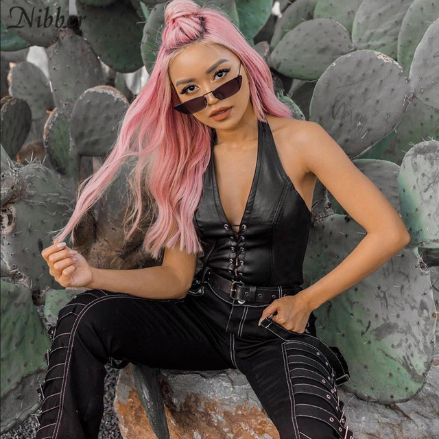 Nibber fashion punk black leather hollwo crop tops womens camisole 2019 summer fashion stretch tees Slim Soft leather tank tops 2