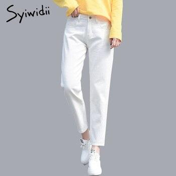 1652b0bf 100% cotton White Jeans for Women High Waist Harem Mom Jeans Plus Size Sky  Blue Pants Black FASHION for Women Jeans beige 2019
