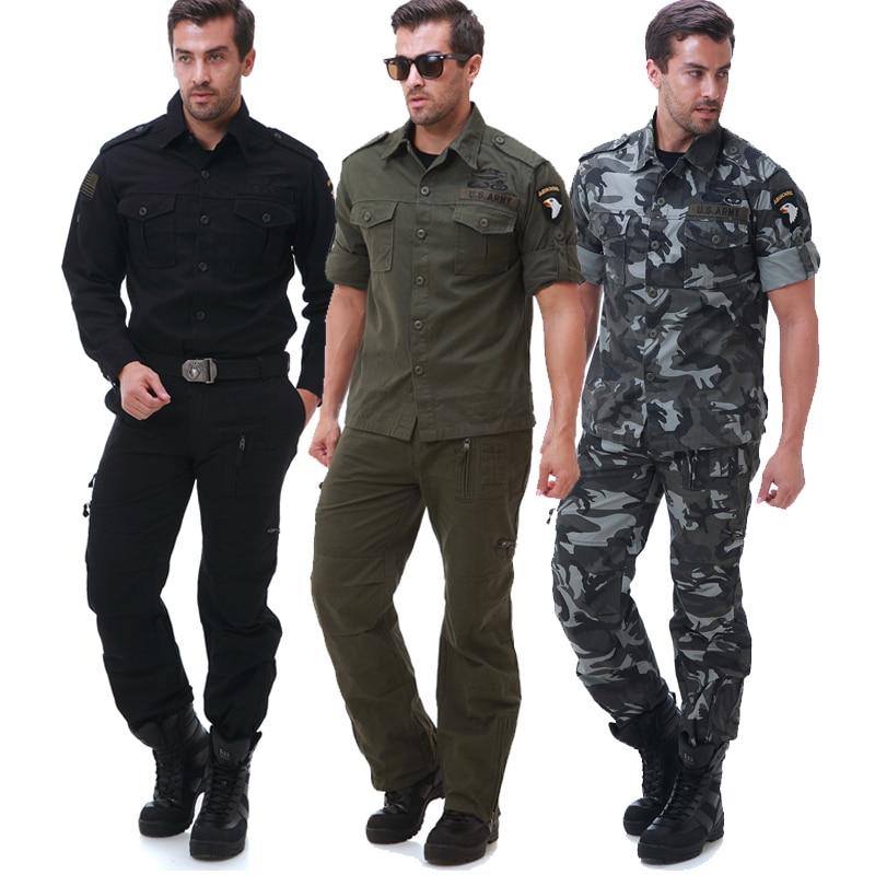 Military style US air force 101st airborne division eagle suit shirt and pant set with a belt 3 color Men's Uniform suit airborne pollen allergy