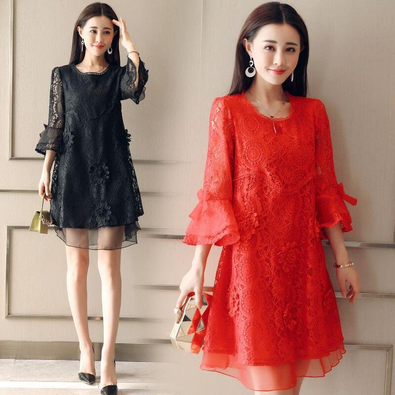 2019 Autumn Lace Dresses Femme 3/4 Sleeve Scoop Neck Women Red Dress Hollow Out Female Robes Plus Size 5XL Vestidos De Festa