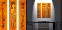 Home Wall Art Decor African Abstract 3 Panels Oil Painting on Canvas 100% Handmade Calligraphy Hang Acrylic Picture Indian Style