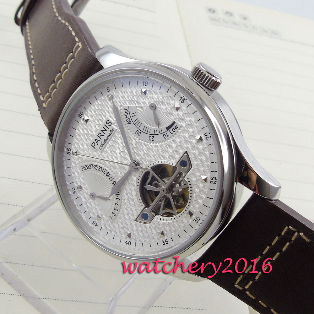 43mm parnis white dial power reserve date window Mens Automatic mens watches top brand luxury automatic mechanical Watch luxury brand 42mm parnis black dial white dial date 24 hour power reserve moon phase miyota 9100 automatic mens wrist watch p560