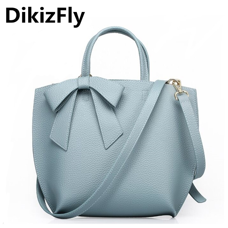 DikizFly Women's fashion Handbags Genuine Leather totes Bag for Women Messenger Bags High Quality Bow Women Bag Bolsa Feminina dikizfly soft genuine leather women handbags casual totes bag real leather brand work handbag purse elegant messenger bags bolsa