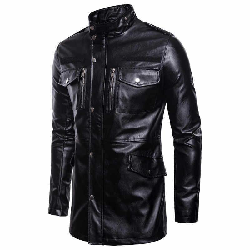Осенняя и зимняя мужская кожаная куртка мотоциклетная Длинная черная куртка-ветровка, ветрозащитная куртка из искусственной кожи пальто с воротником-стойкой