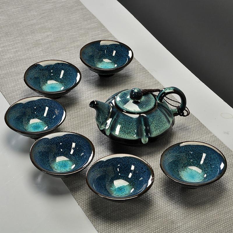 Chinese Starry sky tea set Include 6 teacups 1 tea pot Jingdezhen temmoku glaze Porcelain Brand