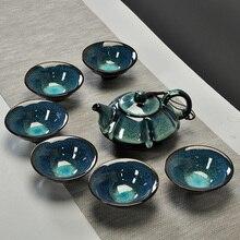 Chinesische sternenhimmel tee satz Umfassen 6 teacups 1 teekanne, Jingdezhen temmoku glasur Porzellan Marke Exquisite Set KungFu tee Tasse