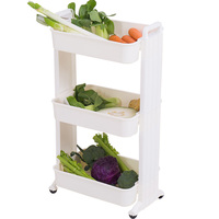 3 Layers Kitchen Vegetable Fruit Organizing Cart Living Room Sundries Books Cosmetics Storage Rack Shelf with Casters DQ1516