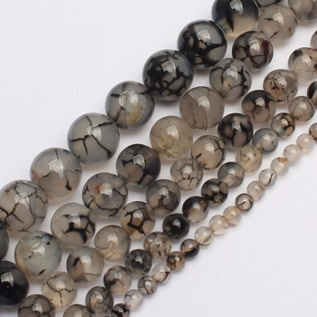 Hot Sale 6 8 10 12mm Black Fire Agata Round Beads 15.5inch/strand Pick Size Free Shipping-f00055 Aa