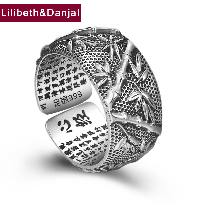 2019 Ethnic Buddha Custom Adjustable Ring 100% S999 Sterling Silver jewelry Men Rich bamboo Lucky Scripture Mantra LOVE Ring R12