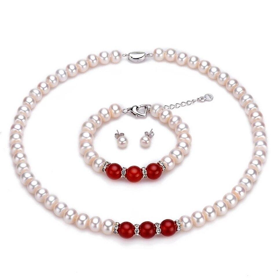 Ensemble de bijoux de mariée naturel AAAA perles d'eau douce Semiround femme 925 argent collier boucles d'oreilles bracelets pour fiançailles/mariage
