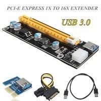 5pcs USB 3 0 PCI E Express 1X To 16X Extender Riser Card Board SATA Adapter