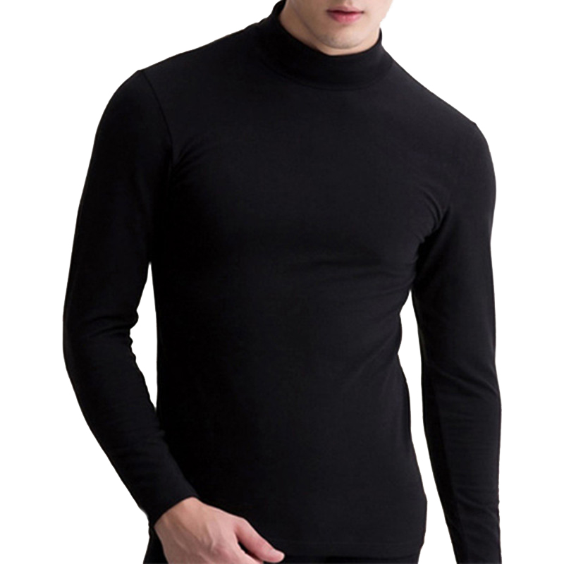 Mens Thermal Underwear Autumn Winter Turtle Neck Tops High Collar Slim Long Johns New Fashion Long Sleeve Slim Fit Warm Tops Men ...
