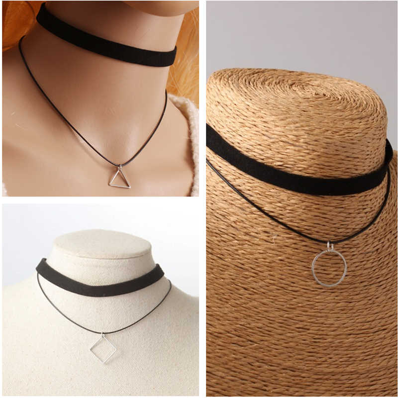2019 Hot Black Velvet Leather Double Layer Bijoux Triangle Circles Square Pendant Maxi Statement Chokers Necklaces Women Jewelry