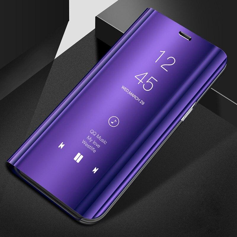 Espelho Visão Clara Do Caso Da Aleta Para Huawei Y5 2018 Luxo Capa de Couro PU Para Huawei Y5 2018 Caso para Huawei Y 5 2018