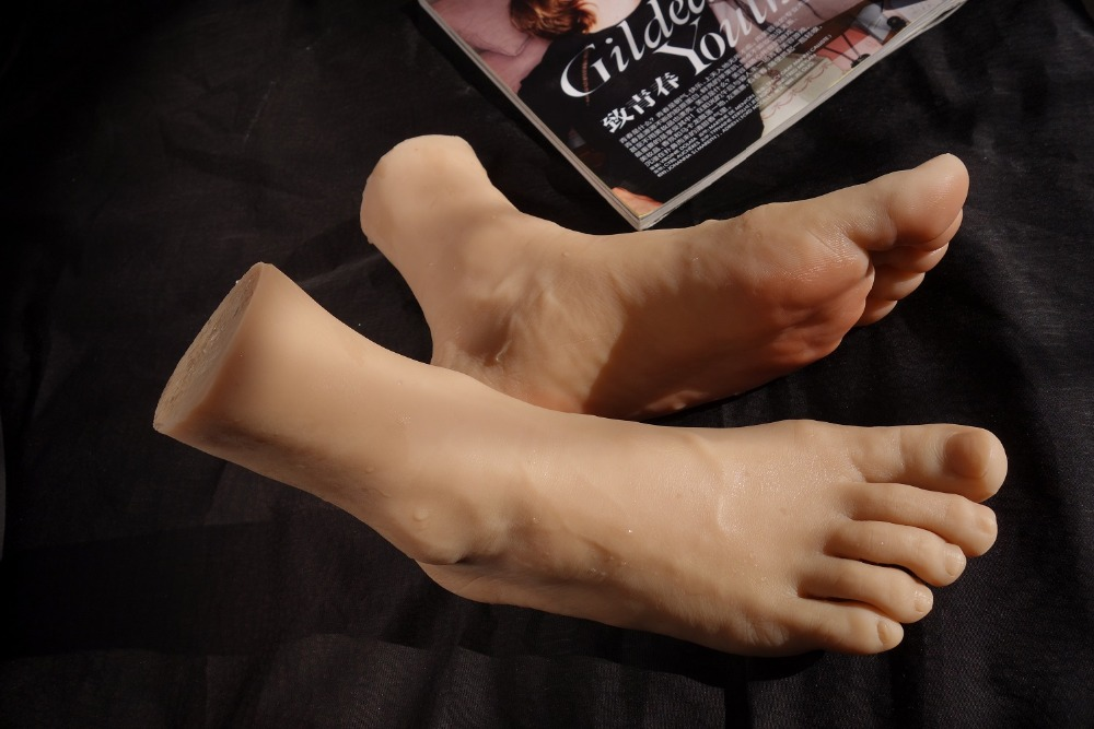 4302 Realistic One Pair Silicone Male Mannequin Dummy Foot Men Fake Foot Model