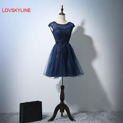 Короткие платье для выпускного вечера довольно с плеча без рукава с круглым вырезом Темно-синие пояс-кушак модные кружевные короткие