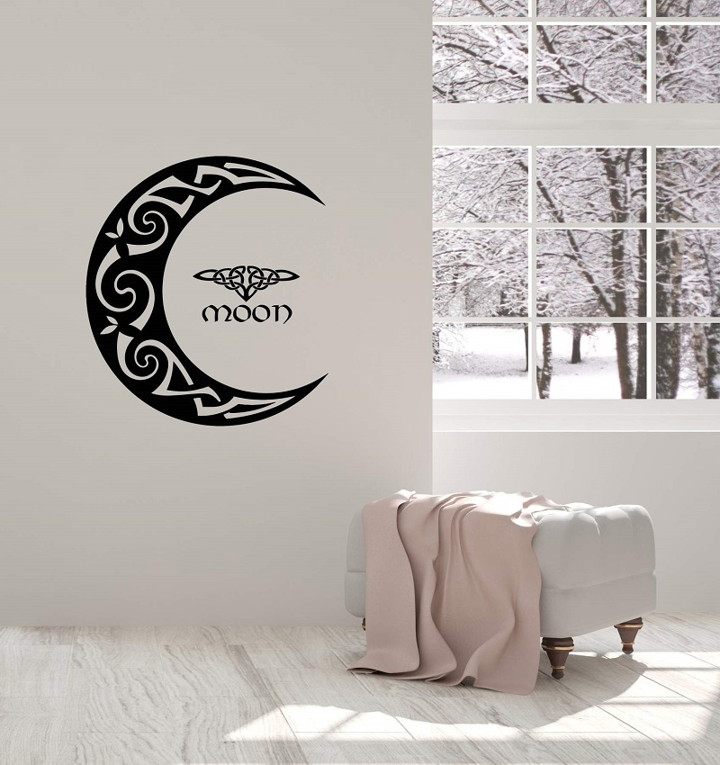 Vinyl Wall Decal Celtic Moon Ornament Crescent Bedroom Home Interior Stickers Mural  2WS16-in Wall Stickers from Home & Garden