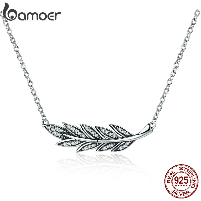 BAMOER Authentic 925 Sterling Silver Branch of Tree Leaves Clear CZ Pendant Necklaces for Women Sterling Silver Jewelry SCN287
