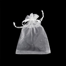 Wholesale 100pcs/lot Drawable White Small Organza Bags 7x9cm Favor Wedding Christmas Gift Bag Jewelry Packaging & Pouches