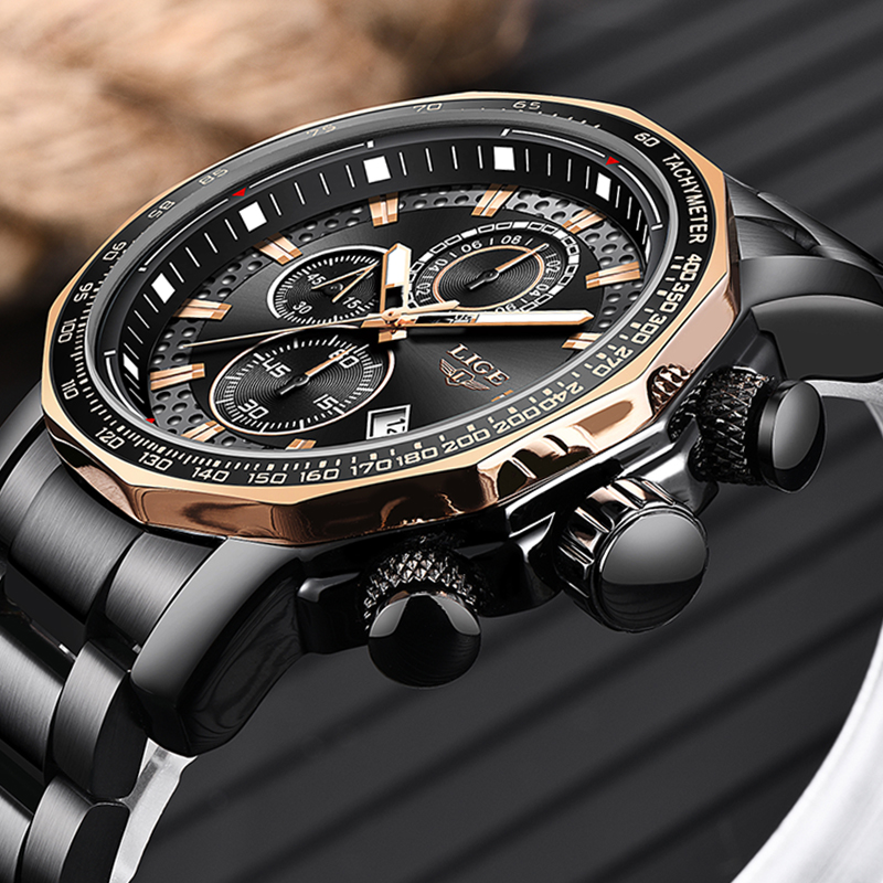 2018 LIGE Men Watches Top Brand Luxury Fashion Quartz Clock Men Full Steel Waterproof Sport Military