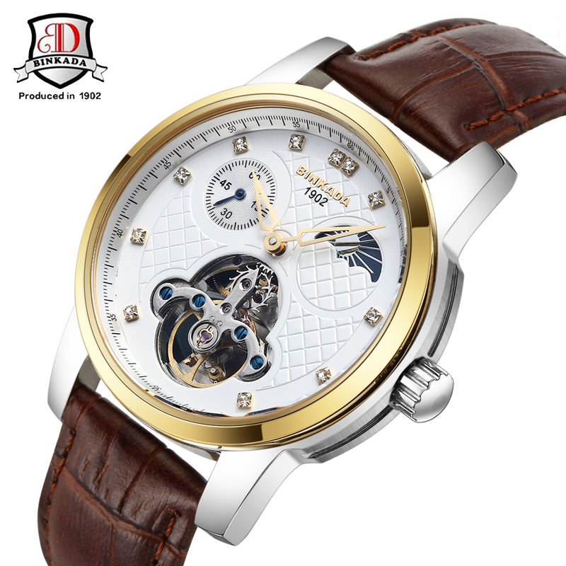 2017 BINKADA Men's Famous Mens Watches Brand Day/Week Tourbillon Moon Phase Mechanical Watches Wristwatch Gift Box Free Ship 2016forsining luxury relogio masculino men s day week tourbillion auto mechanical watches wristwatches gift box free ship