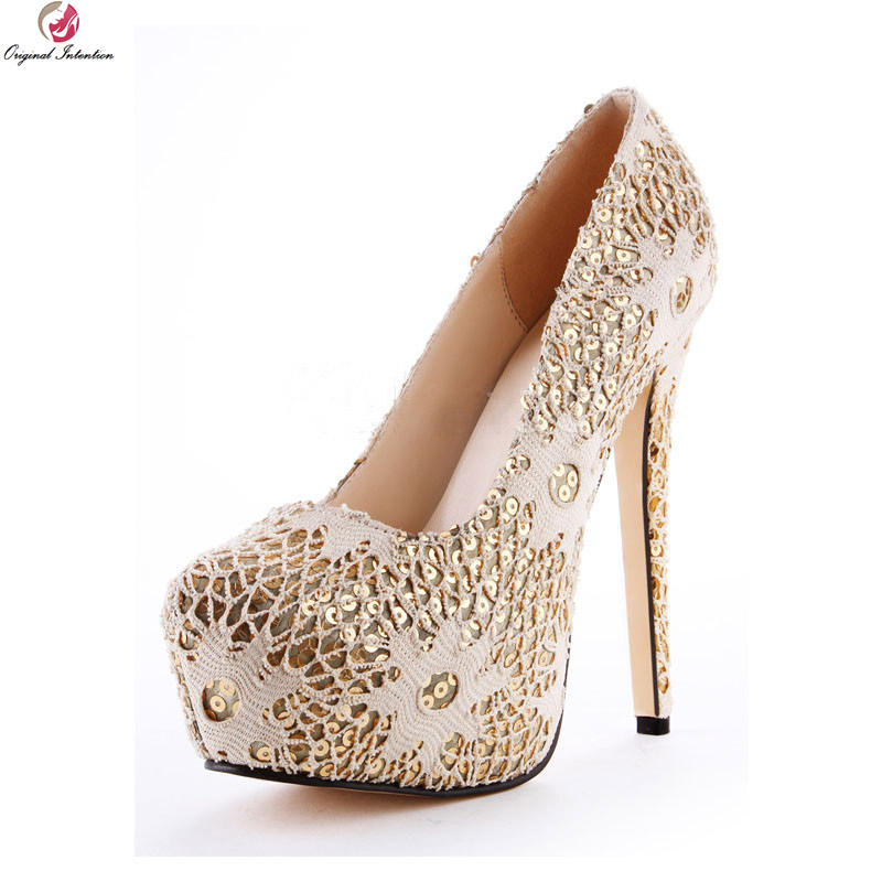 Original Intention New Gorgeous Women Pumps Nice Platform Round Toe Thin High Heels Pumps Beige Shoes Woman Plus US Size 4-10.5 new luxury wedding shoes women high heels platform shoes woman round toe performance stage shoes beige pearl big size high pumps