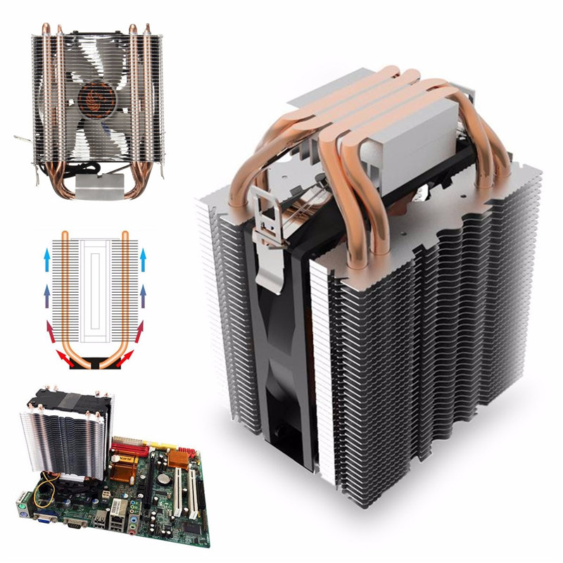 3Pin Quiet 4 Heatpipe Radiator CPU Cooler Heatsink for Intel LGA1150 1151 1155 775 1156 Fan Cooling for Desktops Computer amzdeal cpu cooler silent fan cooling dual fan cooler 2 heatpipe radiator heatsink radiator for intel amd computer